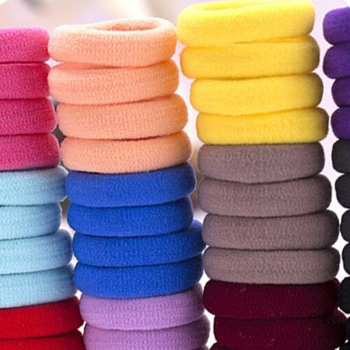 Mix Candy Colors 100pcs Cute Children Headwear Hair Loops No Damage Hair Band Seamless High Elastic 5