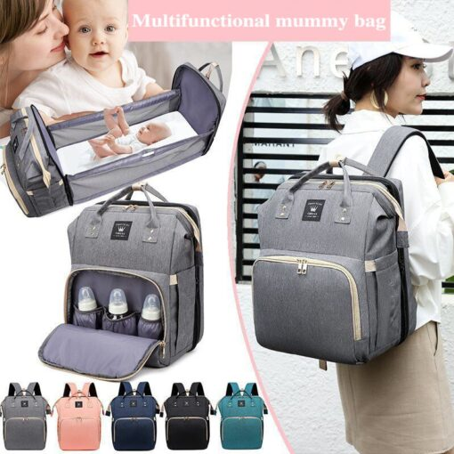 Moms Dads Multifunctional Diaper Bag Bed Backpack Baby Bed Cribs Bags Mummy Travel Maternity Nursing Handbag
