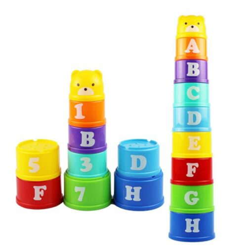 Montessori Stacking Cups Tower Figures Letters Education Gift Plastic Cup Rainbow Stacking Tower Educational Stacking Kid 1