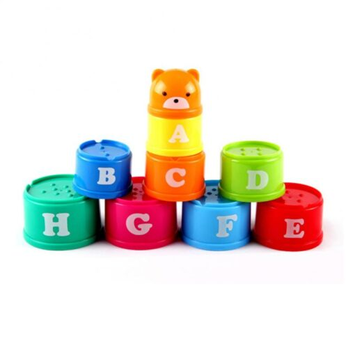 Montessori Stacking Cups Tower Figures Letters Education Gift Plastic Cup Rainbow Stacking Tower Educational Stacking Kid 2