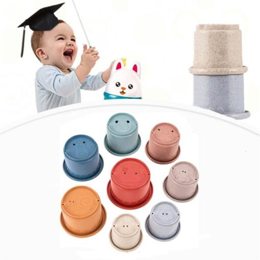 Montessori Stacking Cups Tower Figures Letters Education Gift Plastic Cup Rainbow Stacking Tower Educational Stacking Kid 3