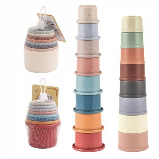 Montessori Stacking Cups Tower Figures Letters Education Gift Plastic Cup Rainbow Stacking Tower Educational Stacking Kid 5