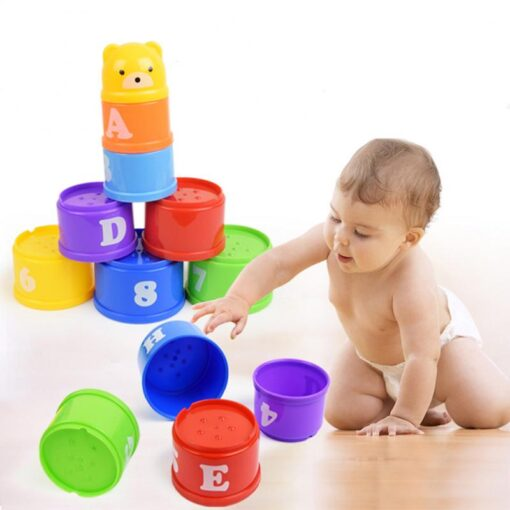 Montessori Stacking Cups Tower Figures Letters Education Gift Plastic Cup Rainbow Stacking Tower Educational Stacking Kid
