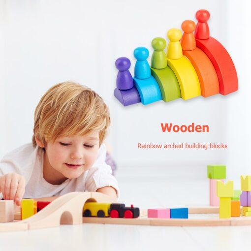 Montessori Wooden Rainbow Puzzle Colored Arch Bridge Assemble educational Toy Building Blocks Set Shapes Sorting Preschool 7