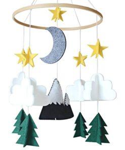 Moon Handmade For Boys Nursery Decoration Play Starry Night Baby Girls Bedroom Crib Mobile Woodland Hanging