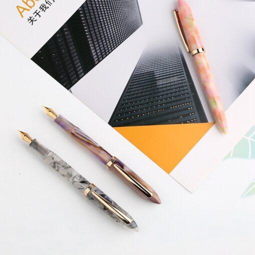 Moonman Acrylic Resin Fountain Pen Iridium Extra Fine Fine Nib 0 38 0 5mm Gold Trim 3