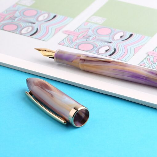 Moonman Acrylic Resin Fountain Pen Iridium Extra Fine Fine Nib 0 38 0 5mm Gold Trim 4