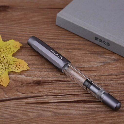 Moonman T1 Acrylic Metal Piston Fountain Pen Aluminum Alloy Fine Nib 0 5mm Large Capacity Pens 4