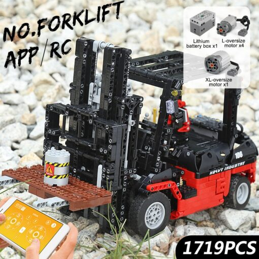 Mould King 13106 Technic Motor Power Mobile Crane Forklift Mk II Car Building Kits Blocks Bricks 1