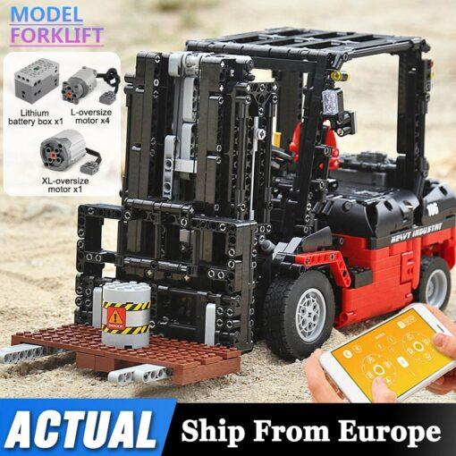 Mould King 13106 Technic Motor Power Mobile Crane Forklift Mk II Car Building Kits Blocks Bricks