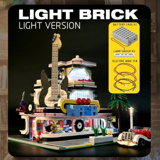 Mould King MOC Creator Street Downtown Diners Guitar house Street View Model Building Blocks Bricks Kids 2
