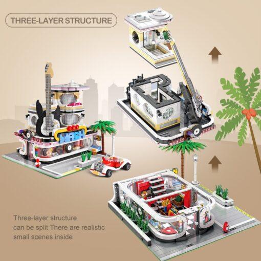 Mould King MOC Creator Street Downtown Diners Guitar house Street View Model Building Blocks Bricks Kids 5