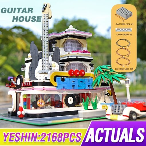 Mould King MOC Creator Street Downtown Diners Guitar house Street View Model Building Blocks Bricks Kids