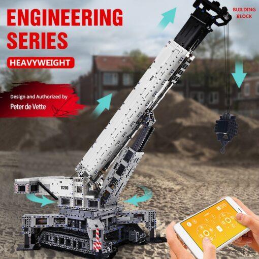 Mould King Technic series RC Engine Power Function Crane LTM Truck with APP Building Brick Blocks 2