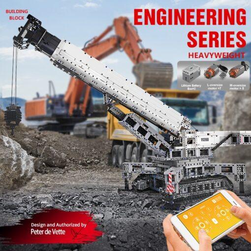 Mould King Technic series RC Engine Power Function Crane LTM Truck with APP Building Brick Blocks 3