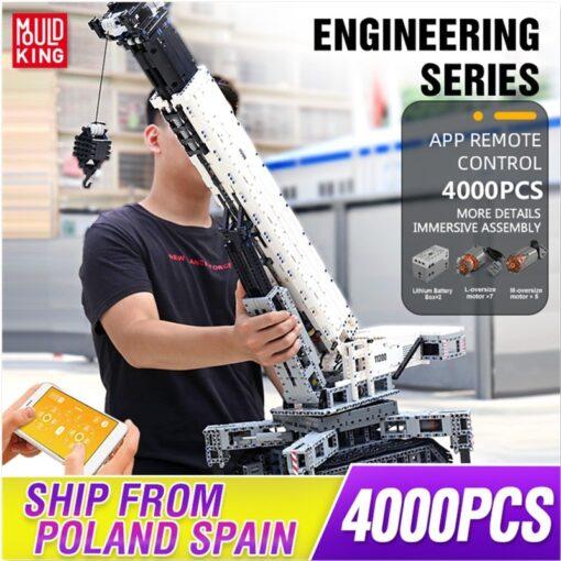 Mould King Technic series RC Engine Power Function Crane LTM Truck with APP Building Brick Blocks