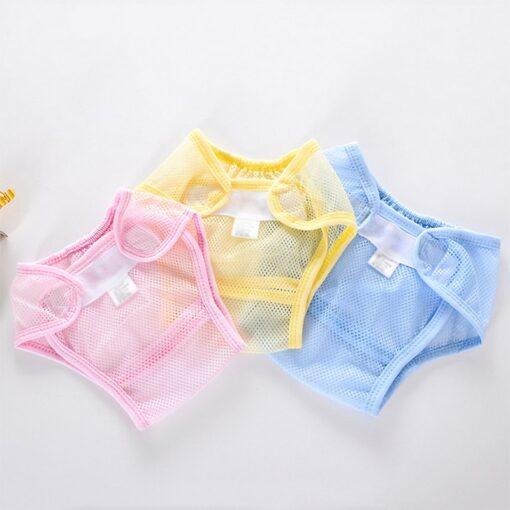 Multi function Unisex Reusable Diaper Newborn Baby Net Grid Diaper Sticky Buckle Adjustable Comfortable Cover Leak 7