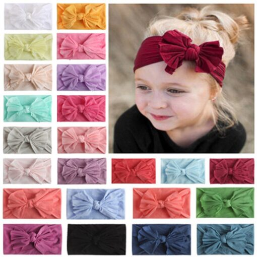 Multicolor Baby Headband Elastic Candy Solid Color Head Wrap Newborn Head bands Bowknot Bows kids Baby 5