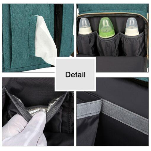 Multifunction Diaper Bag Moms and Dads Backpack Baby Bed Bags with Mattress Maternity Nursing Waterproof Handbag 4