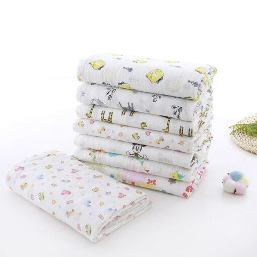 Muslin 100 Cotton 110 120CM Baby Swaddles Soft Newborn Blankets Bath Gauze Infant Wrap Sleepsack Stroller 1