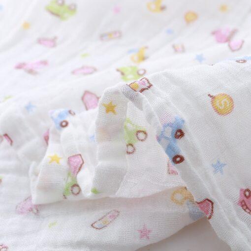 Muslin 100 Cotton 110 120CM Baby Swaddles Soft Newborn Blankets Bath Gauze Infant Wrap Sleepsack Stroller 4