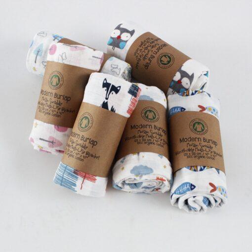 Muslin 100 Cotton Baby Blanket 120 120cm Soft Newborn Blankets 2 Layers Bath Gauze Infant Swaddle 1