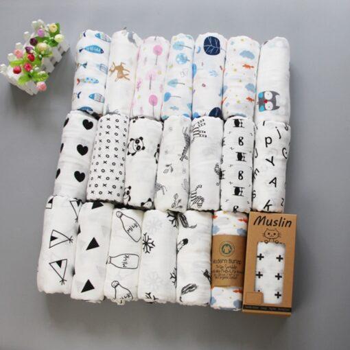 Muslin 100 Cotton Baby Blanket 120 120cm Soft Newborn Blankets 2 Layers Bath Gauze Infant Swaddle 2