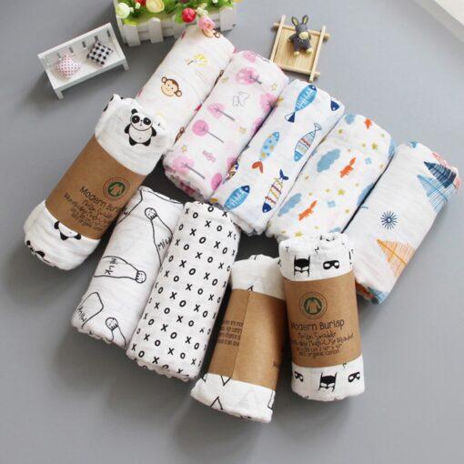 Muslin 100 Cotton Baby Blanket 120 120cm Soft Newborn Blankets 2 Layers Bath Gauze Infant Swaddle