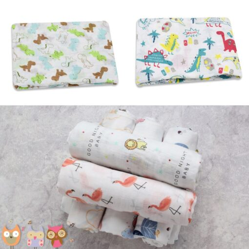 Muslin 100 Cotton Baby Swaddles Soft Newborn Blankets Bath Gauze Infant Wrap Sleepsack Stroller Cover Play 15