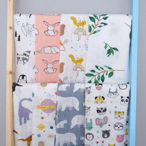 Muslin 70 bamboo30 cotton baby blanket soft Swaddle Newborn Cartoon Animal Printed bibs Bandana 2020 Cute 2