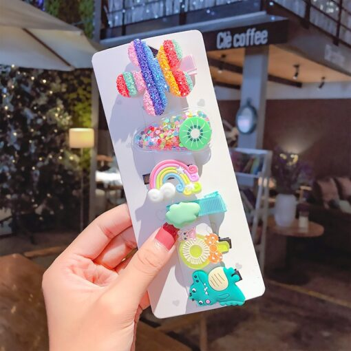 NEW 10 6pcs Headwear Hair Clip Girls Hair Accessories Children Rainbow Ice Cream Baby Clip Cute 1