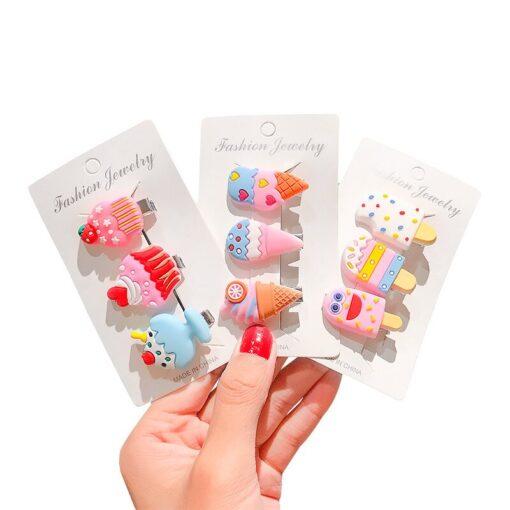 NEW 10 6pcs Headwear Hair Clip Girls Hair Accessories Children Rainbow Ice Cream Baby Clip Cute 5