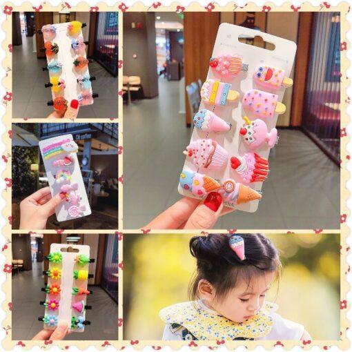 NEW 10 6pcs Headwear Hair Clip Girls Hair Accessories Children Rainbow Ice Cream Baby Clip Cute