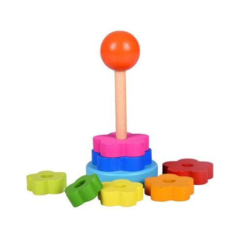 NEW Kids Stacking Nest Learning Stack Up Rainbow Tower Blocks Baby Early Education Wooden Toy 1 2