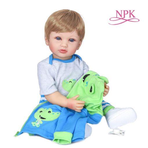 NPK 55CM original NPK full body silicone bebe doll reborn boy has two color hair baby 3