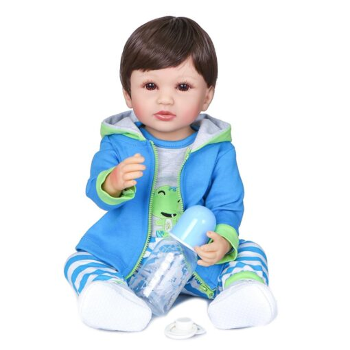 NPK 55cm two colors hair handmade flexible original authentic designed reborn baby boy soft full silicone 1