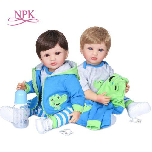 NPK 55cm two colors hair handmade flexible original authentic designed reborn baby boy soft full silicone