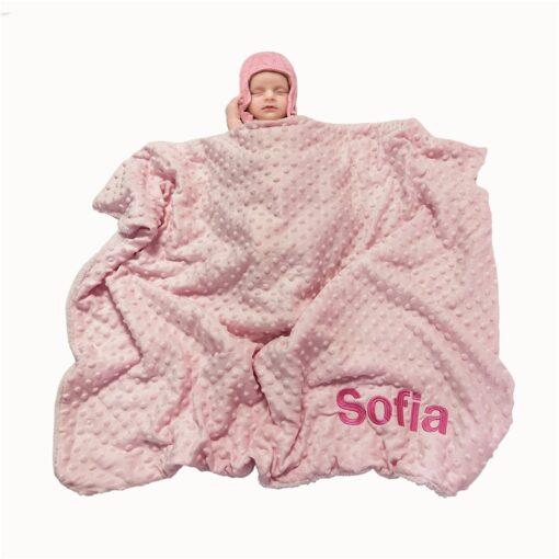 Name Personalised Newborn Baby Blanket Swaddling Baby Bedding Set Swaddle Soft Fleece Toddler Crib Bed Stroller 2