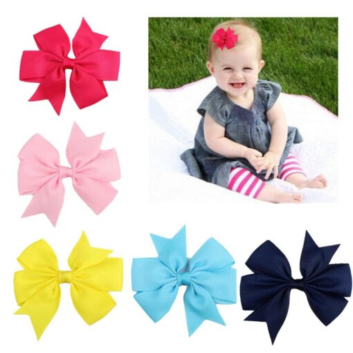 New 1 Pcs Girl Dovetail Hair Clip Ribbon Bow Knot Hairpin Kids Hair Accessories 5 Color 1