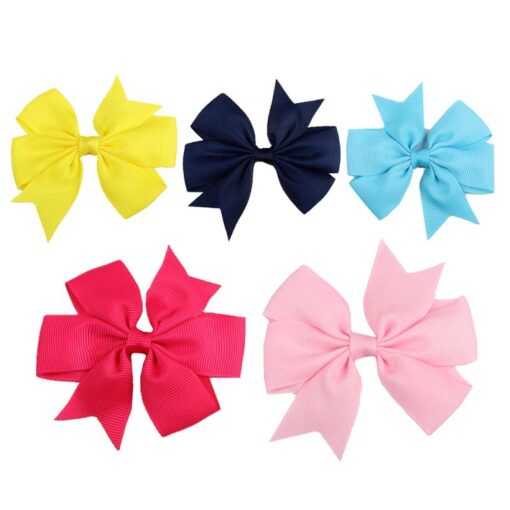 New 1 Pcs Girl Dovetail Hair Clip Ribbon Bow Knot Hairpin Kids Hair Accessories 5 Color 2