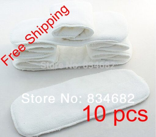 New 10 PCS Washable Microfiber Baby Cloth Diaper Nappy Liners Inserts 2 Layers Super Soft Hot
