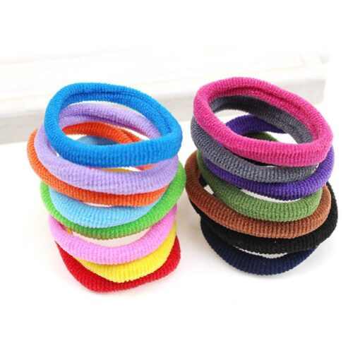 New 100Pcs Girl Kids Headwear Candy Colorful Elastic Hair Band Rope Ring Band Hair Accessories Durable 3