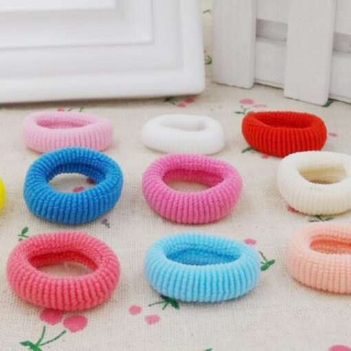 New 100Pcs Girl Kids Headwear Candy Colorful Elastic Hair Band Rope Ring Band Hair Accessories Durable 5