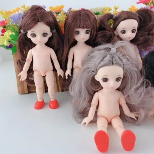 New 16 Cm Movable Jointed Dolls Toys 3D Big Eyes Long Wig Hair Fashion Doll Female 2