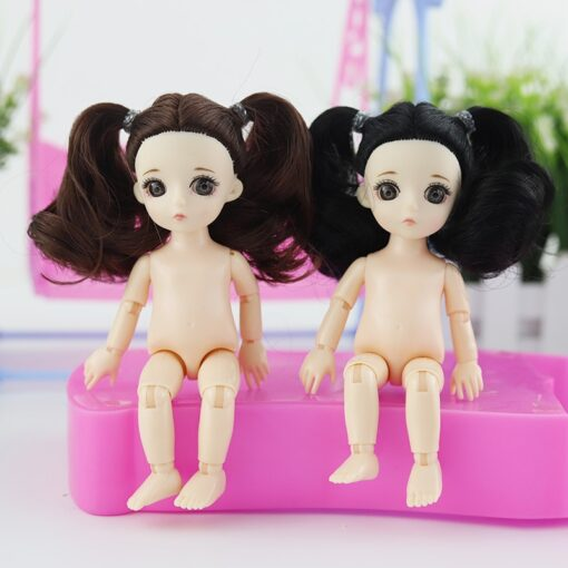 New 16 Cm Movable Jointed Dolls Toys 3D Big Eyes Long Wig Hair Fashion Doll Female 3