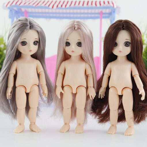 New 16 Cm Movable Jointed Dolls Toys 3D Big Eyes Long Wig Hair Fashion Doll Female