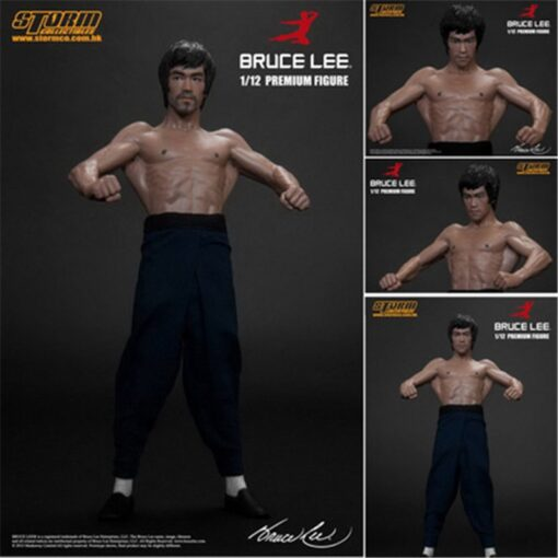 New 20CM Bruce Lee Bat Muscle Figure Full Body Real Clothes Interchangeable Head Double Head Action 1