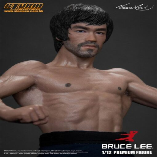 New 20CM Bruce Lee Bat Muscle Figure Full Body Real Clothes Interchangeable Head Double Head Action 2