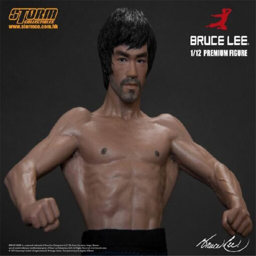 New 20CM Bruce Lee Bat Muscle Figure Full Body Real Clothes Interchangeable Head Double Head Action 3