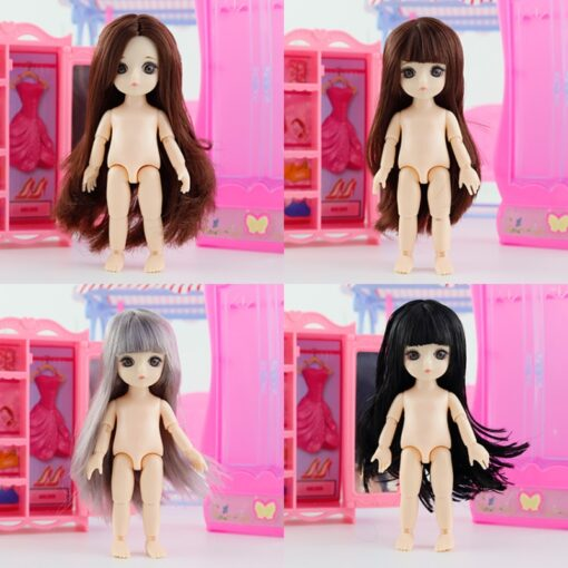 New 3D Big Eye 16 CM Doll Movable Jointed Toys Cute Dolls Female Naked Nude Body 5